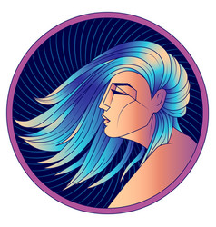 virgo zodiac sign woman with blue hair vector image