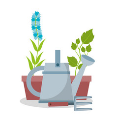 watering can pot plant flower and rake garden vector image