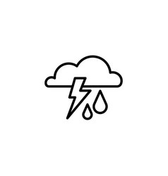 web icon storm cloud lightning and rain vector image