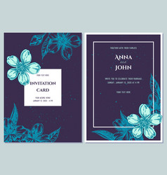 Wedding invitation card with blue almond vector
