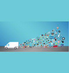 White transport truck with general shopping object vector