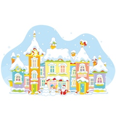 Winter toy town vector
