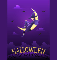 witch sitting on crescent moon in halloween night vector image