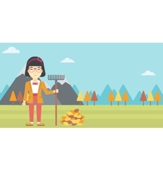 Woman raking autumn leaves vector