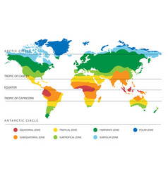World climate map with temperature zones vector