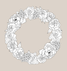 wreath with peonies and roses hand drawing vector image