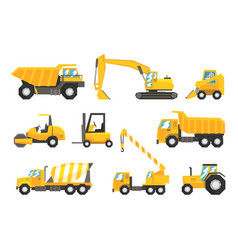 Yellow construction cars and machinery set of vector