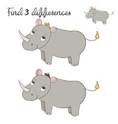 Find differences kids layout for game rhino vector image vector image