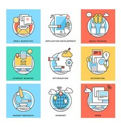 Flat Color Line Design Concepts Icons 6 vector image