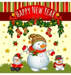 Holiday card with Santa and two snowmens vector image