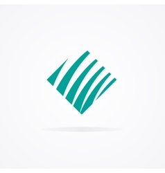 Logo with a combination of cube and waves vector image