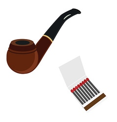Smoking pipe and matcstick vector image vector image