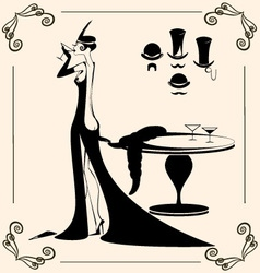 vintage lady and drink vector image vector image