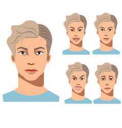 young man face different emotions vector image vector image