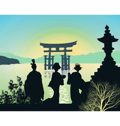 Attractions of Japan vector image vector image