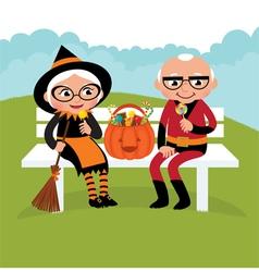 Elderly couple celebrating Halloween vector image