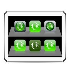 Money exchange green app icons vector image