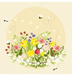 Vintage Spring Flowers Bee Nature Garden vector image vector image