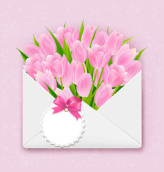envelope with tulips vector image vector image