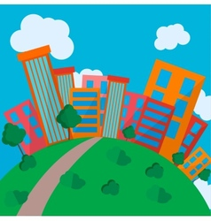 Flat Style Urban Landscape in day vector image