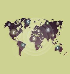 money revolves around the world cartoon vector image vector image