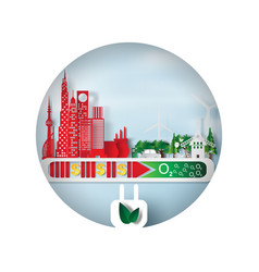 paper art and craft of environment cityscape vector image vector image
