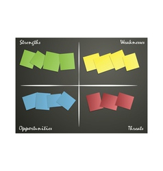 sticky notes for swot analysis vector image