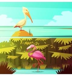 Tropical Birds Horizantal Retro Banners Set vector image vector image