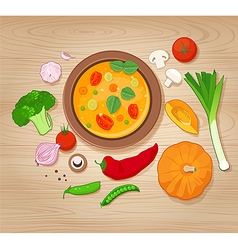 Vegetable Soup and Ingredients on Wooden Backgroun vector image