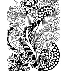 astract hand-drawn leafy doodle pattern in black vector image vector image