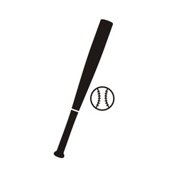 baseball bat and ball monochrome icon vector image vector image