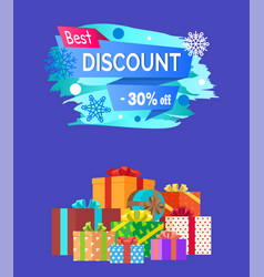 best discount advert text written on promo label vector image vector image