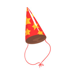 birthday party hat with yellow stars celebration vector image