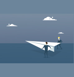 business people launching paper plane investor vector image vector image