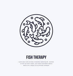 fish therapy line icon spa peeling service vector image vector image