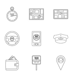 Taxi icons set outline style vector image
