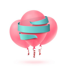 three pink balloons isolated with blue ribbon on vector image vector image