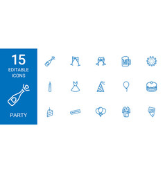 15 party icons vector