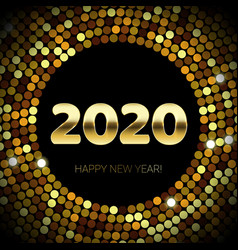 2020 happy new year gold glitter and sequins vector