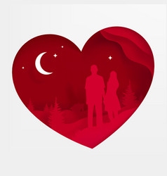 a heart postcard on valentine vector image