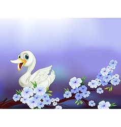 A stationery with a white duck and flowers vector
