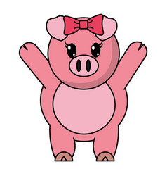 Adorable female pig animal with hands up vector