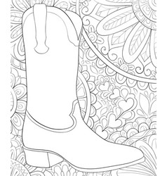Adult coloring bookpage a cute boot vector
