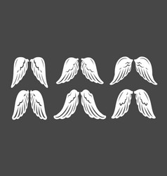 angel wings set design graphic element template vector image