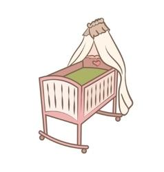 Baby cradle doodle vector
