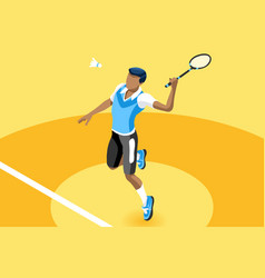 Background badminton boy vector