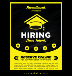 black and yellow now hiring new student vector image