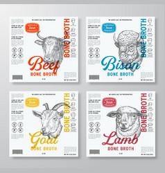 Bone broth label templates set abstract vector