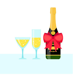 bottle champagne and filled glasses vector image