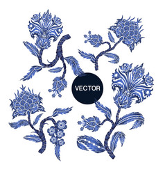 branches with flowers in chinoiserie style vector image